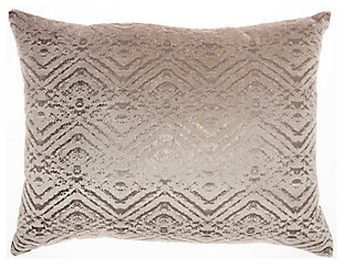 Modern Metallic Diamonds Luminescence Beige Pillow, , large