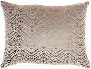 Modern Metallic Diamonds Luminescence Beige Pillow, , rollover