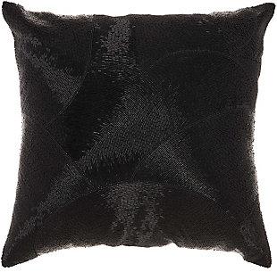 Modern Fan Design Luminescence Black Pillow, , rollover