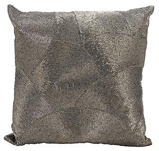Modern Fan Design Luminescence Pewter Pillow, Gray, large