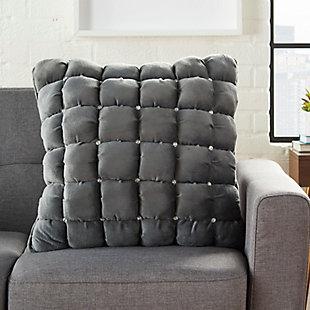 Modern Quilted Swarovski Luminescence Dark Grey Pillow, , rollover