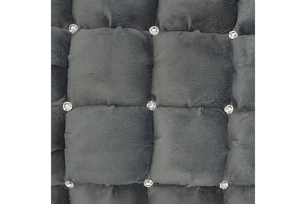 Modern Quilted Swarovski Luminescence Dark Grey Pillow, Gray, large