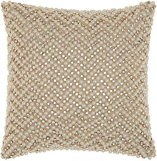 Modern Quilted Swarovski Luminescence Ivory Pillow, , rollover