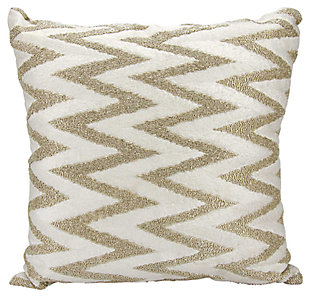 Modern Beaded Chevron Luminescence Silver Pillow, , large