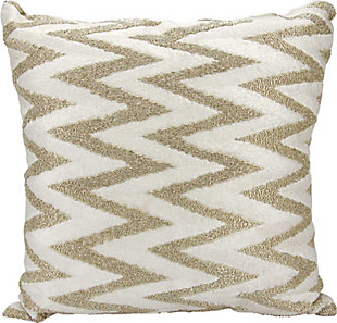 Modern Beaded Chevron Luminescence Silver Pillow, , rollover