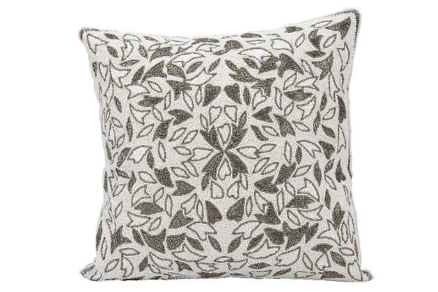 Modern Beaded Vines Luminescence Pewter Pillow, , large