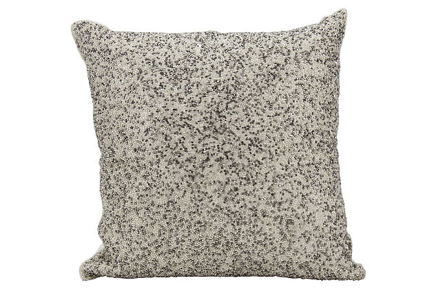 Modern Broken Mirror Luminescence Pewter/Silver Pillow, , large