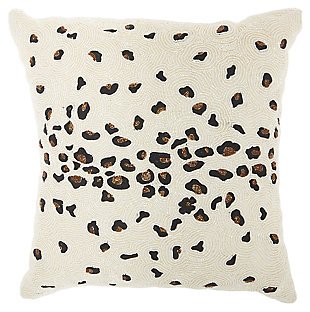 Modern Beaded Leopard Luminescence Ivory Pillow, , large