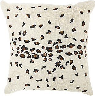 Modern Beaded Leopard Luminescence Ivory Pillow, , rollover