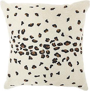 Modern Beaded Leopard Luminescence Ivory Pillow, , rollover
