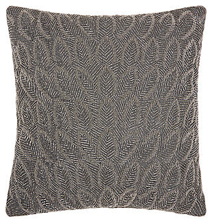 Modern Beaded Feathers Luminescence Pewter Pillow, , large