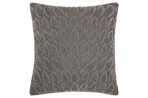 Modern Beaded Feathers Luminescence Pewter Pillow, Gray, large