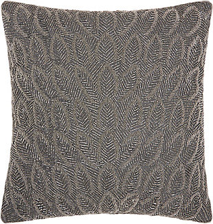 Modern Beaded Feathers Luminescence Pewter Pillow, , rollover