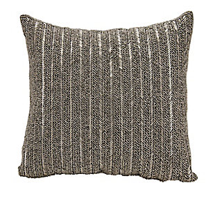 Modern Beaded Stripes Luminescence Pewter Pillow, , rollover