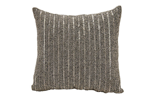 Modern Beaded Stripes Luminescence Pewter Pillow, , large