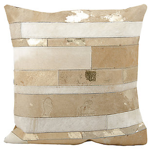 Modern Mix Stripes Natural Leather Hide Beige Pillow, Beige, large