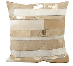 Modern Mix Stripes Natural Leather Hide Beige Pillow, Beige, rollover