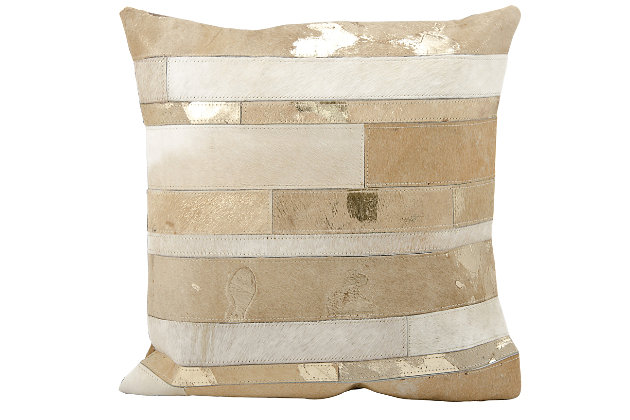 Modern Mix Stripes Natural Leather Hide Silver Grey Pillow, Gray/Beige, large