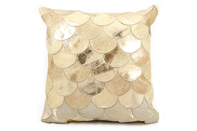 Modern Metalic Balloons Natural Leather Hide Beige Gold Pillow, Beige, large