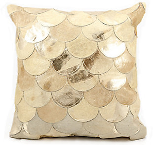 Modern Metalic Balloons Natural Leather Hide Beige Gold Pillow, Beige, rollover