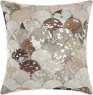 Modern Metalic Balloons Natural Leather Hide Silver Grey Pillow, Gray, large