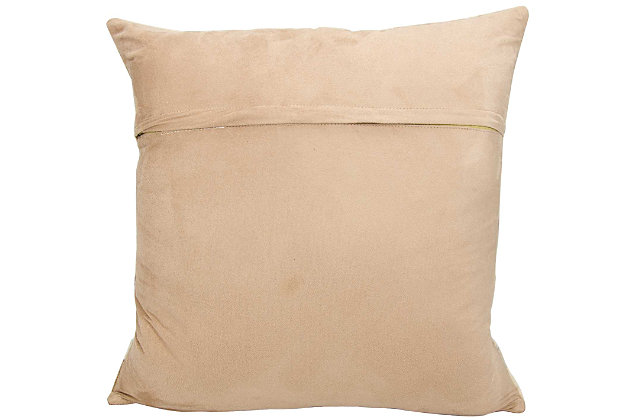 Modern Nat Hide Stripes Natural Leather Hide Grey Pillow, , large