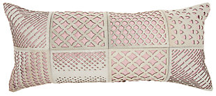 Modern Laser Cut Tiles Natural Leather Hide Rose Pillow, , large