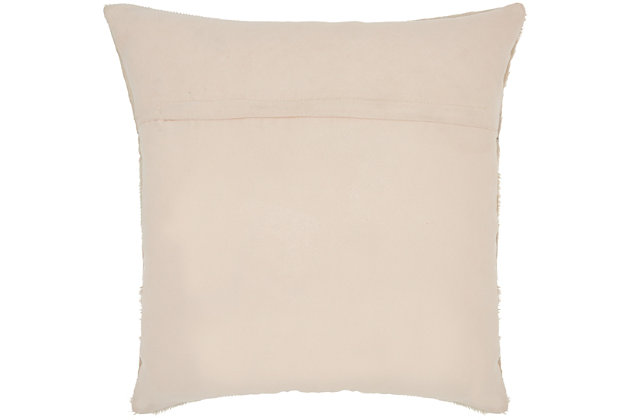Modern Laser Cut Tiles Natural Leather Hide Rose Pillow, , large