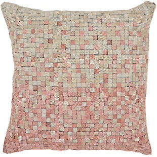 Modern Gradiation Natural Leather Hide Rose Pillow, Pink, large