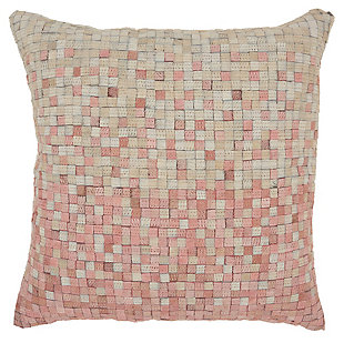 Modern Gradiation Natural Leather Hide Rose Pillow, Pink, large