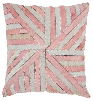 Modern Burst Natural Leather Hide Rose Pillow, , large