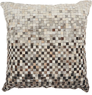 Modern Ombre Geo Pieces Natural Leather Hide Grey Pillow, Gray, large
