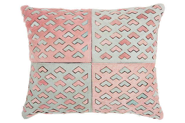 Modern Cut Out Arrows Natural Leather Hide Rose Pillow, , large