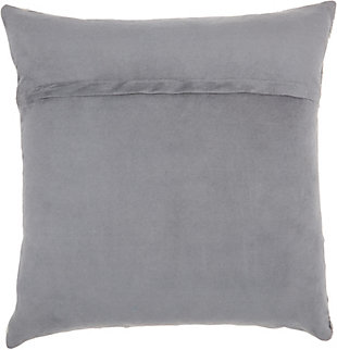 Modern Cut Out Tiles Natural Leather Hide Grey Pillow, , large