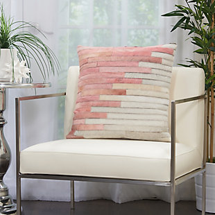 Modern Diagonal Ombre Natural Leather Hide Rose Pillow, , rollover