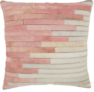 Modern Diagonal Ombre Natural Leather Hide Rose Pillow, , large
