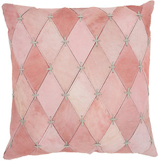 Modern Diamonds Stitches Natural Leather Hide Rose Pillow, , rollover