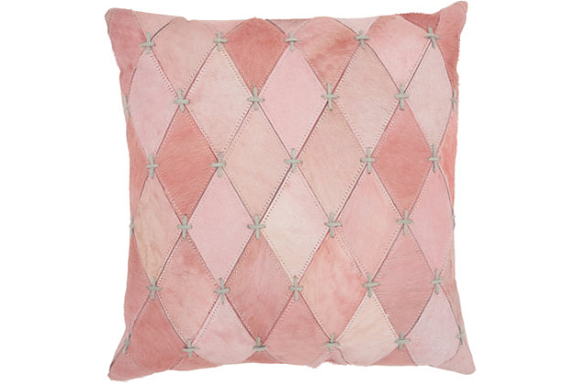 Modern Diamonds Stitches Natural Leather Hide Rose Pillow, , large