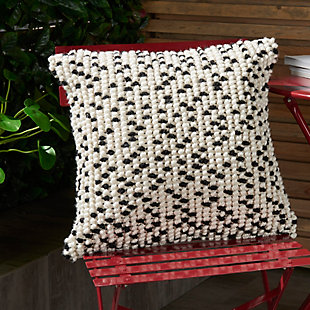 Modern Loop Dots Outdoor Pillows Black Pillow, White/Black, large