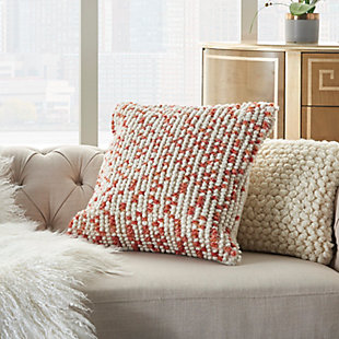 Modern Loop Dots Outdoor Pillows Coral Pillow, White/Pink, large
