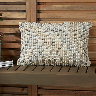 Modern Loop Dots Outdoor Pillows Grey Pillow, White/Gray, large