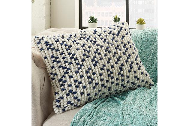 Modern Loop Dots Outdoor Pillows Aqua Pillow, White/Blue, large