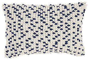 Modern Loop Dots Outdoor Pillows Navy Pillow, White/Blue, large