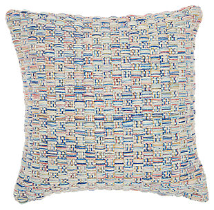 Modern Woven Basketweave Outdoor Pillows Multicolor Pillow, , large