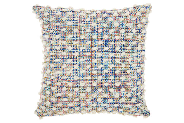 Modern Woven Loop Dots Outdoor Pillows Multicolor Pillow, , large