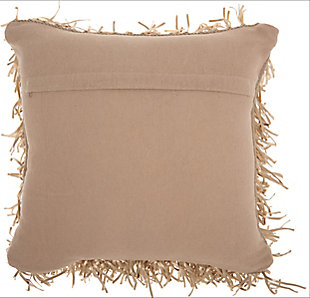 Modern Metallic Ribbon Shag Beige Pillow, Brown, large