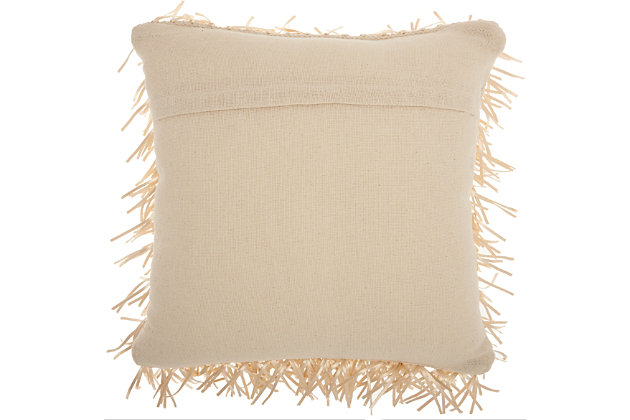 Modern Metallic Ribbon Shag Cream Pillow, Beige, large