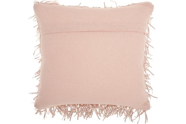 Modern Metallic Ribbon Shag Rose Pillow, Pink, large