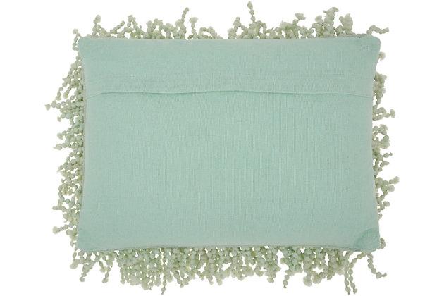 Modern Skinny Fugga Shag Seafoam Pillow, Green, large