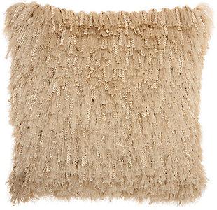 Modern Braided Shag Beige Pillow, Beige, rollover